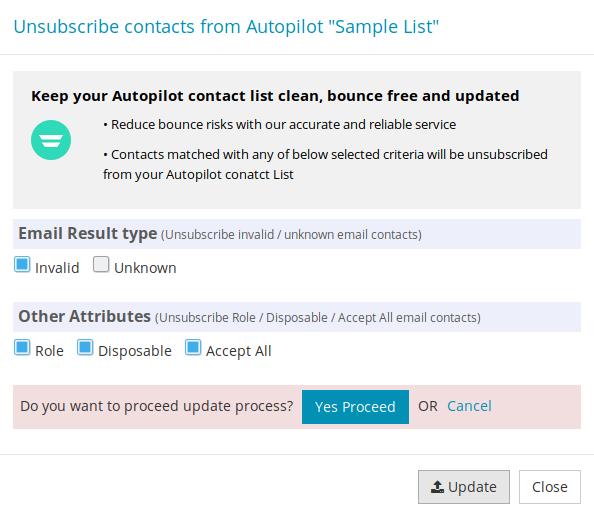 Confirm export Autopilot contact List