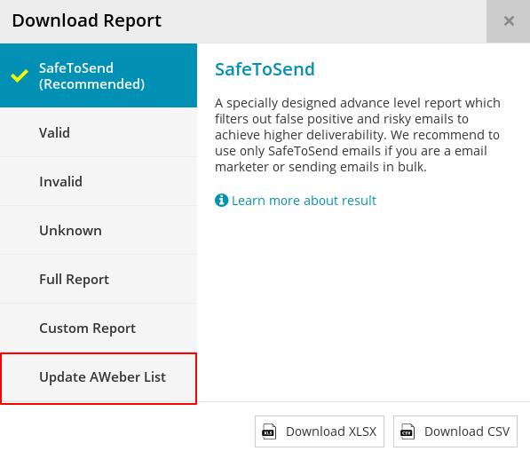 Download modal