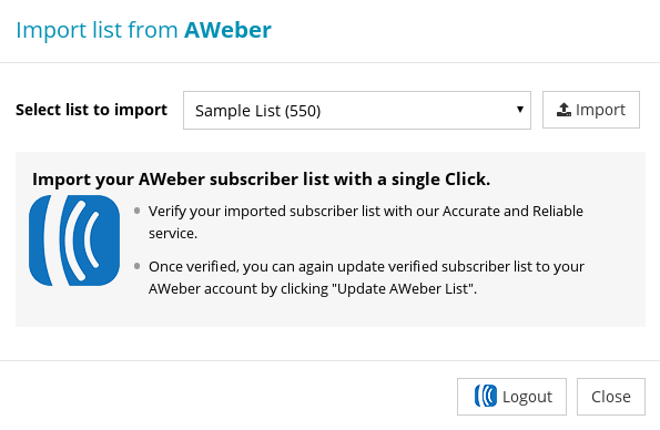 Import list from AWeber