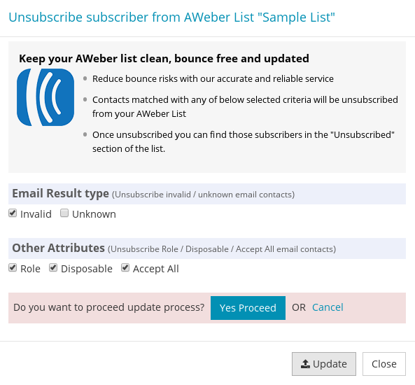 Proceed unsubscribe popup