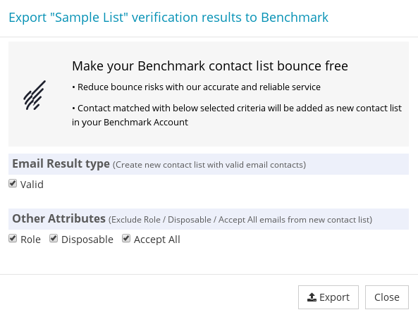 Options to export Benchmark Contact List