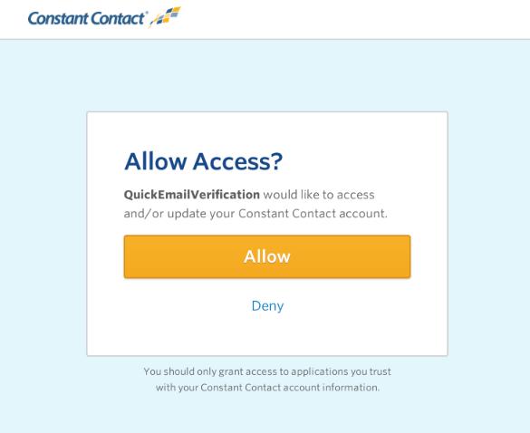 Authorize ConstantContact account