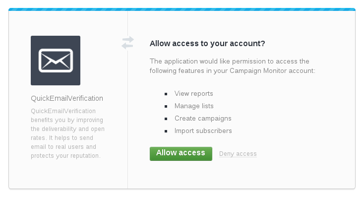 Allow access to CampaignMonitor account