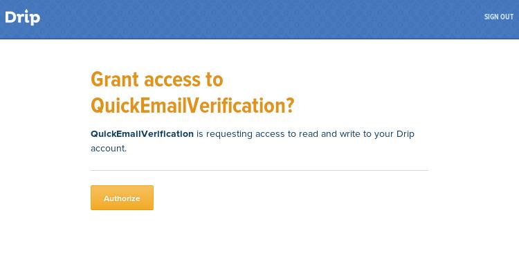 Authorize Drip account