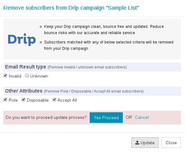 Confirm export Drip list