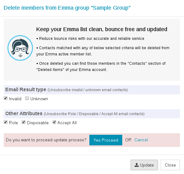 Confirm export Emma group
