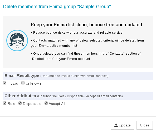 Options to export Emma group