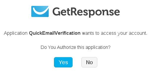 Authorize GetResponse account