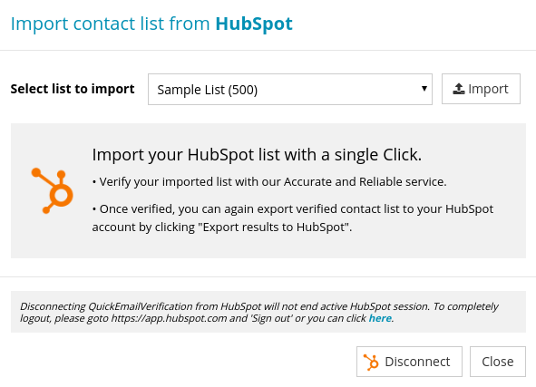 Import Contact List from HubSpot
