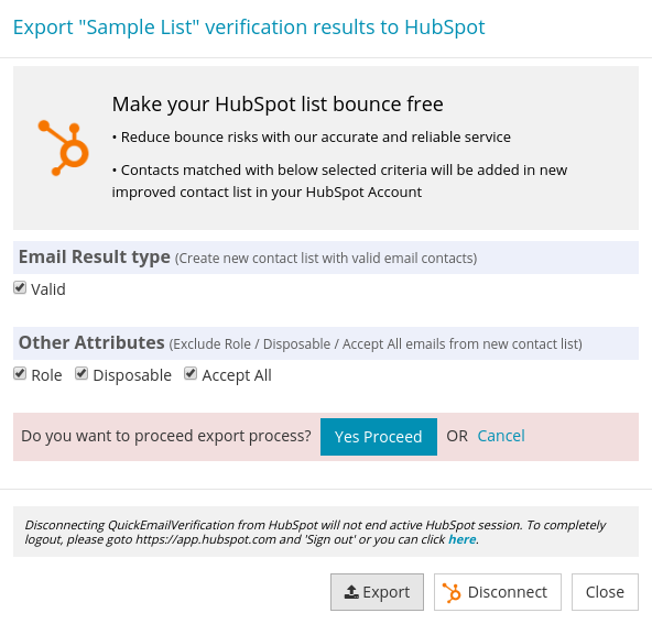 Confirm export HubSpot List