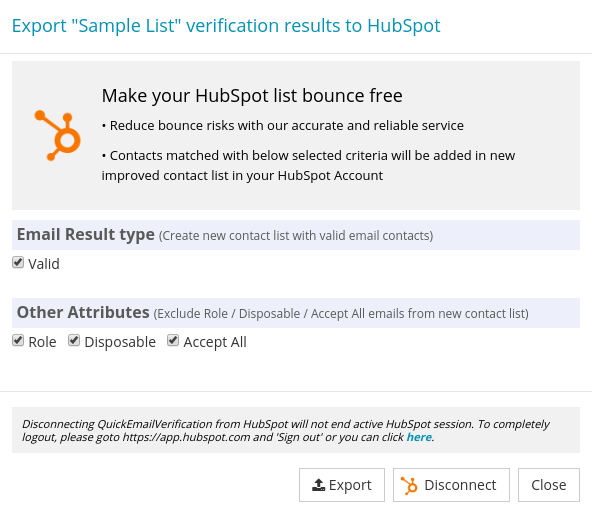 Option for Export HubSpot List