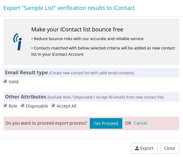 Confirm export iContact List