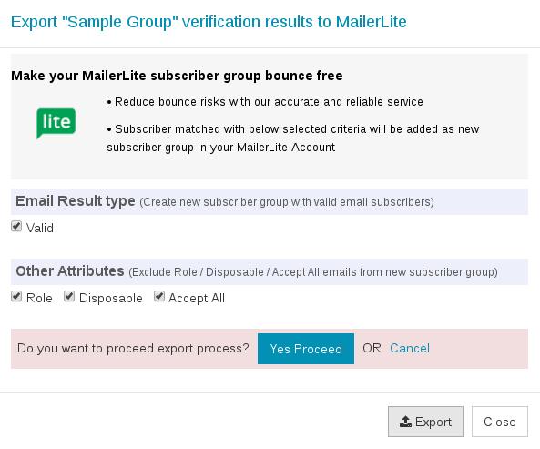 Confirm export MailerLite group