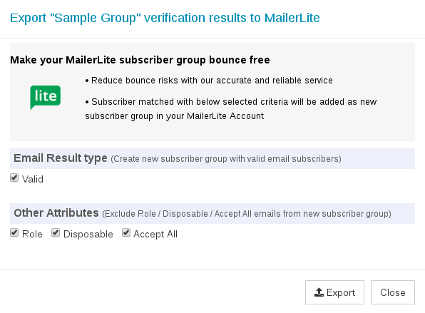Options to export MailerLite group
