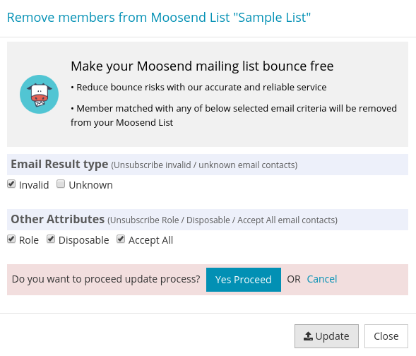 Confirm Update Moosend Mailing List