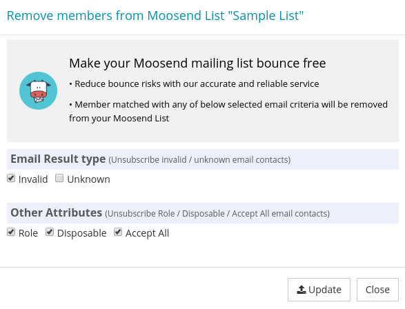 Options to Update Moosend Mailing List