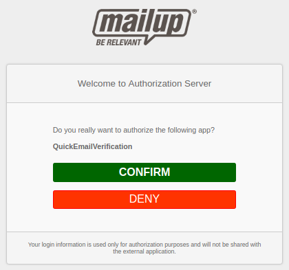 Authorize MailUp account