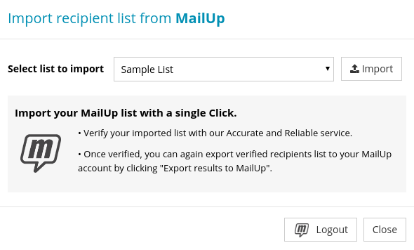 Import Recipients List from MailUp