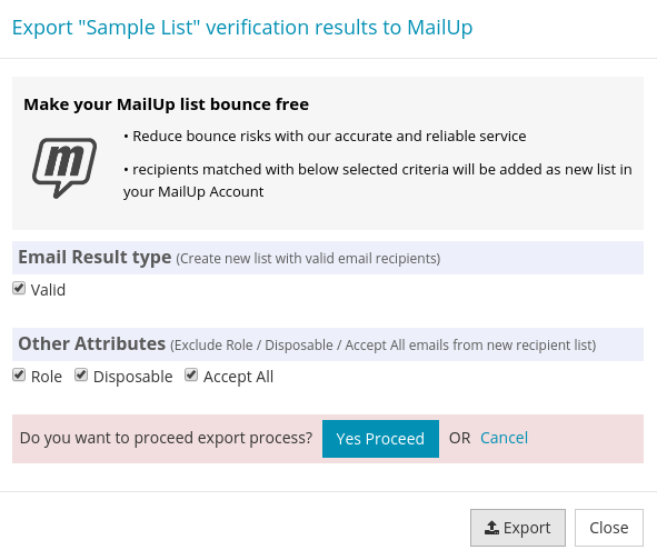 Confirm export MailUp List