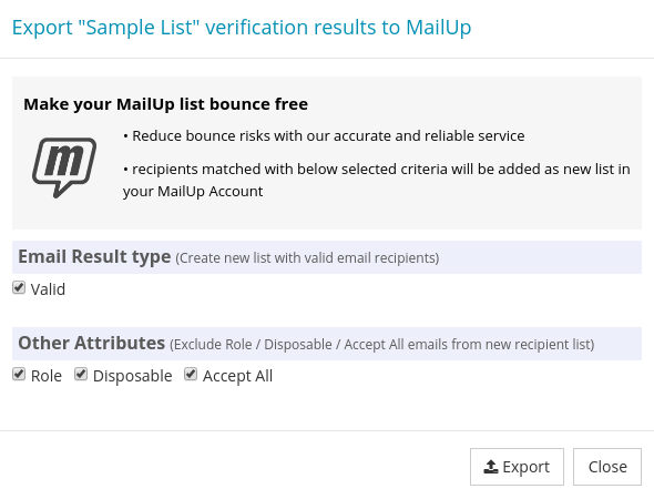 Option for Export MailUp List