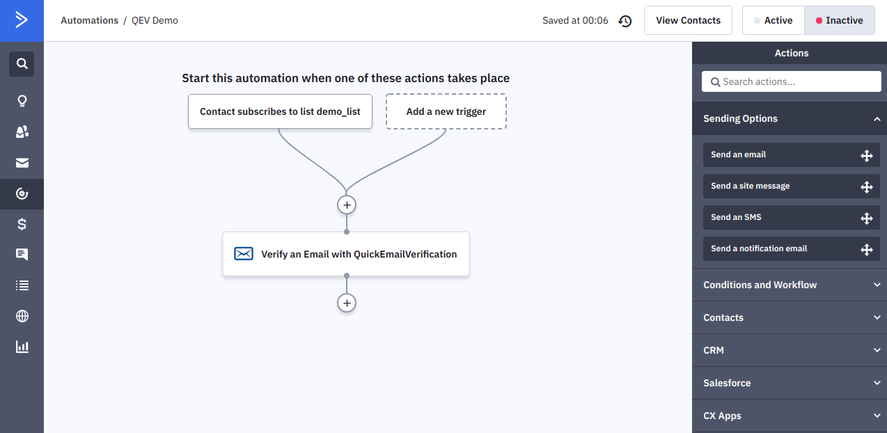 QuickEmailVerification action