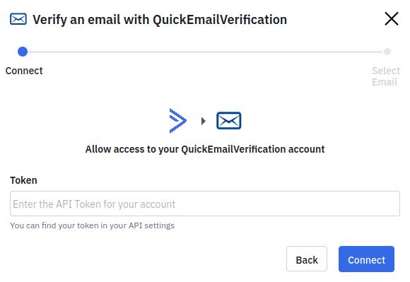 Enter QuickEmailVerification API key