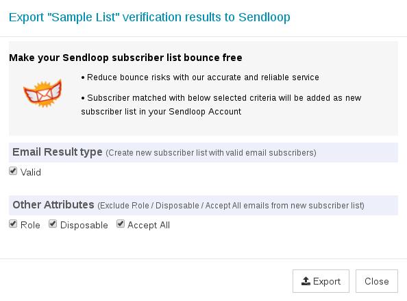 Options to export Sendloop Subscriber List