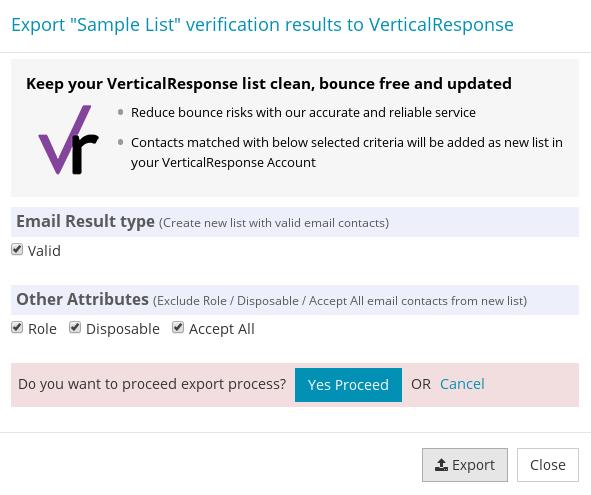 Confirm export VerticalResponse Contact List