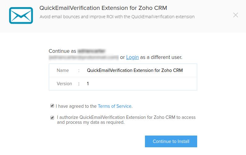 Authorize QuickEmailVerification Extension